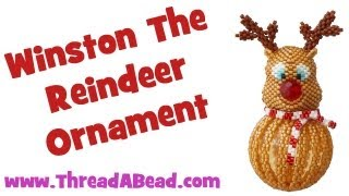 Winston The Reindeer Beaded Bauble Ornament