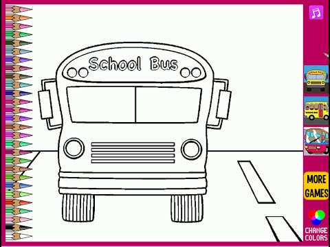 Bus Coloring Pages For Kids - Bus Coloring Pages - YouTube