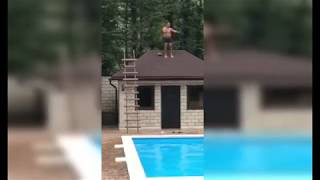 Pha xuống nước ấn tượng(Drunken Rooftop Pool Jump Goes Horribly Wrong