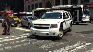 AMTRAK CANINE UNIT PATROLLING ON WEST 31ST STREET IN THE MIDTOWN AREA OF MANHATTAN IN NEW YORK CITY.