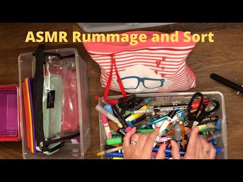 ASMR Rummage and Sort (Pencils, Pens, Markers) - No Talking