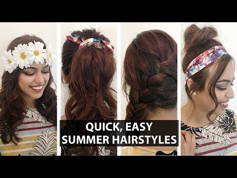 4 Quick Easy Hairstyles For Summer Anum Rubec Summerxskin Youtube