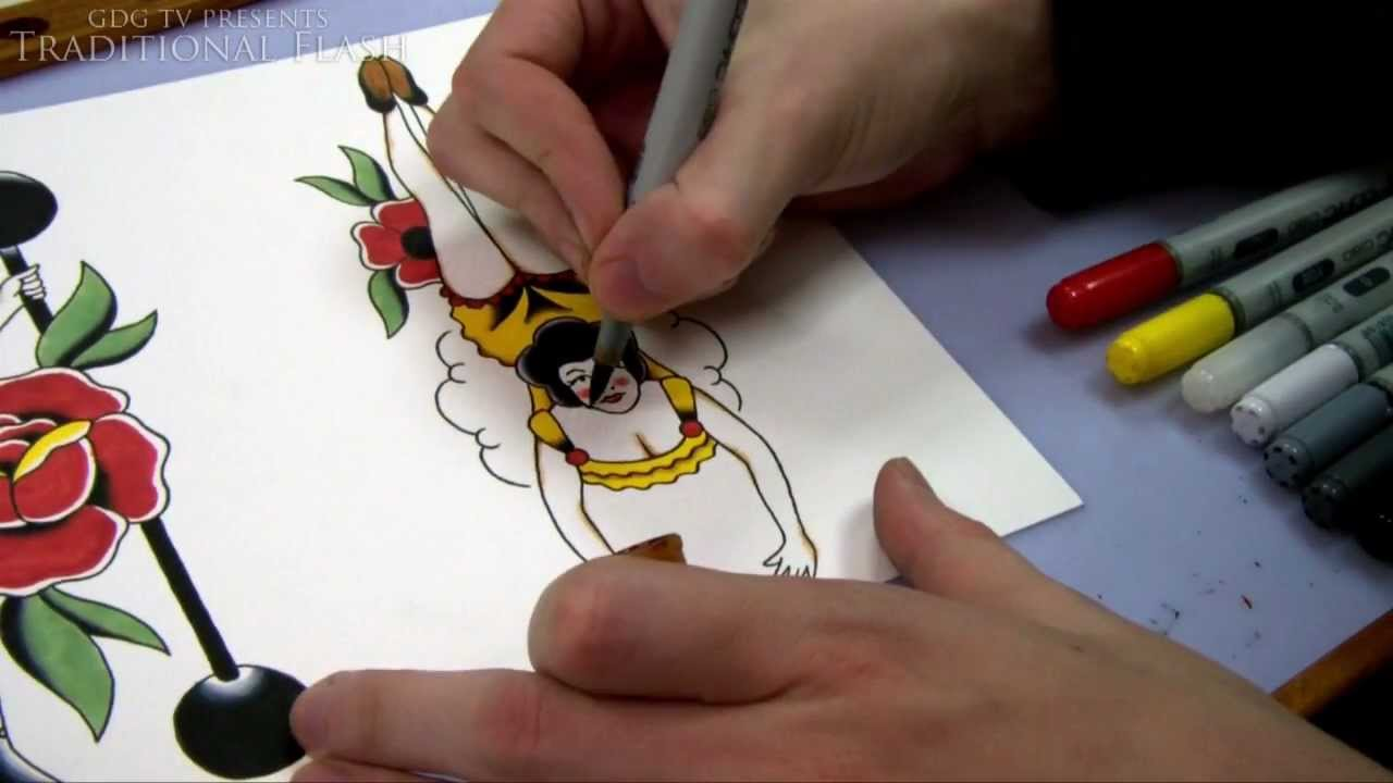 speed painting tutorial how to paint a pin up tattoo design with copic markers youtube. Black Bedroom Furniture Sets. Home Design Ideas