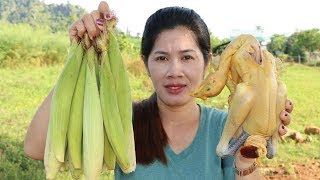 Awesome Cooking Chicken With Corn  Recipe -  Cook Chicken Recipes -  Village Food Factory