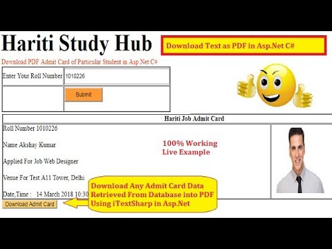 Download Admit Card as PDF Using iTextSharp in Asp.Net C# | Hindi | Free Online Classes