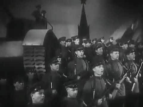 Первое исполнение песни Несокрушимая и легендарная музыка Александрова   Над тобою шумят как знамена