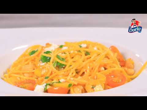Spaghetti Doria sin gluten con lomo de cerdo