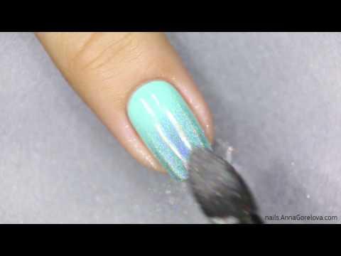 Mint holographic gradient / Мятный голографический градиент с пигментом Mirage