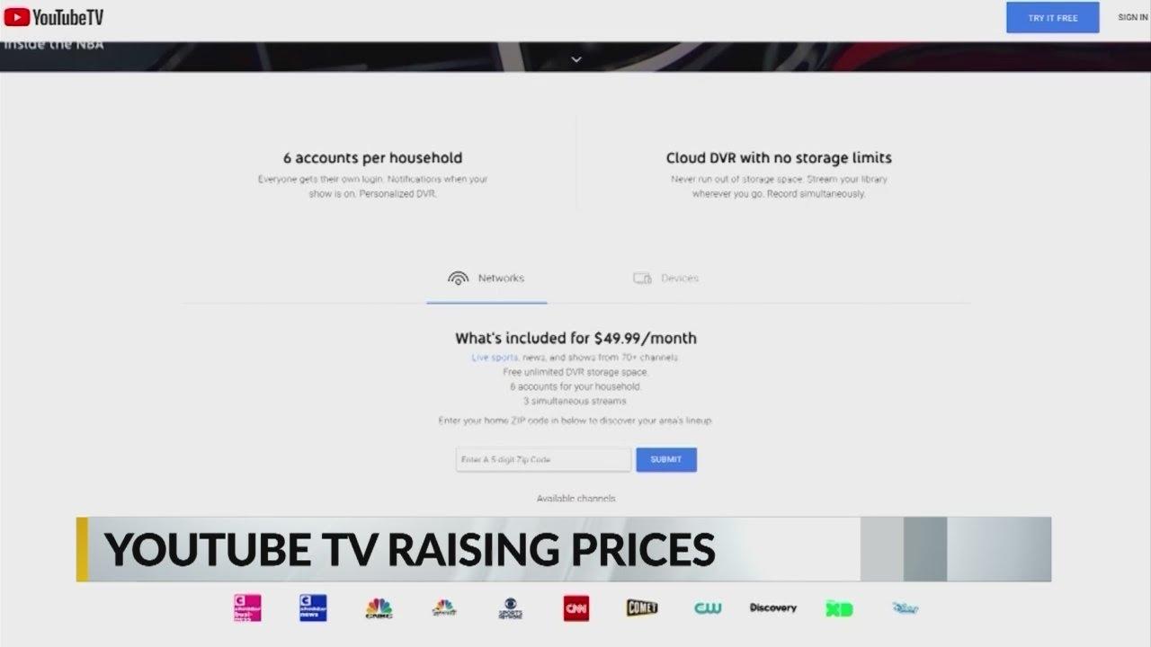 Youtube TV raise prices