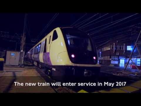 Elizabeth line train for passenger services arrives in London