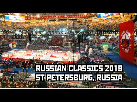 """Russian Classics"". Ice Hockey On Stadium. Russia Vs. Finland Game. St Petersburg, Russia 4K"