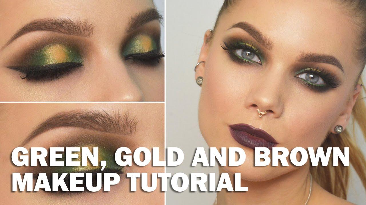 green, gold and brown makeup look - linda hallberg makeup tutorials