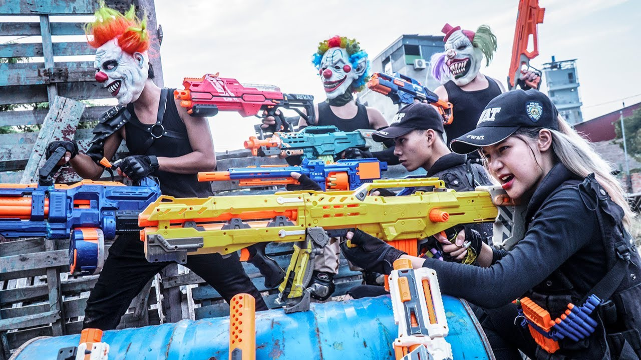 MASK Nerf War : Warriors Woman Alpha Nerf Guns Fight Self-Defense Squad Evil Mask