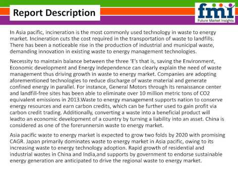 Waste To Energy Market: Asia Pacific Industry Analysis and Forecast Till 2020 by FMI