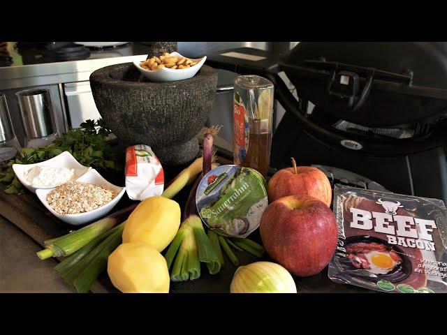 Kartoffel-Patty mit Beef Bacon, Ziegenkäse, Apfelsalat und Sauerrahm  | #GRILLDOCHEINFACH
