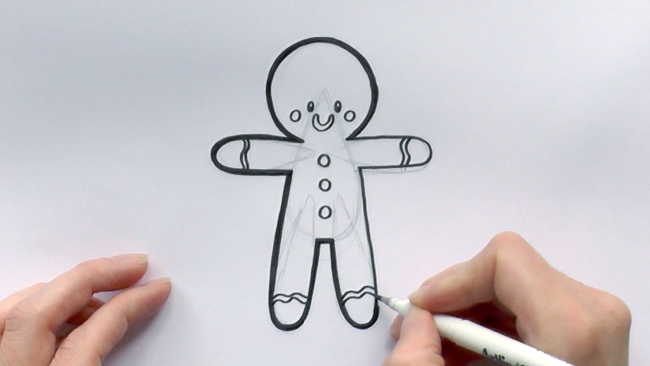It is a photo of Vibrant Drawing Of Gimgernbread Man