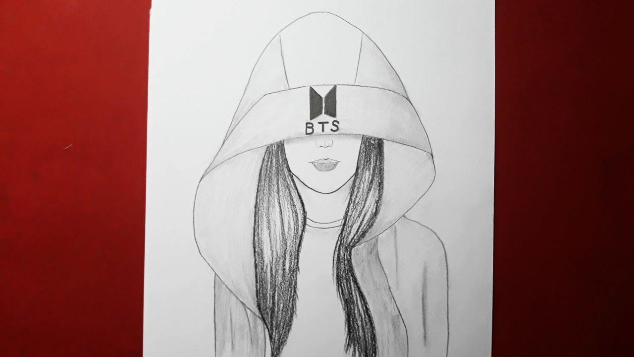 BTS Şapkalı Kız Çizimi Kolay