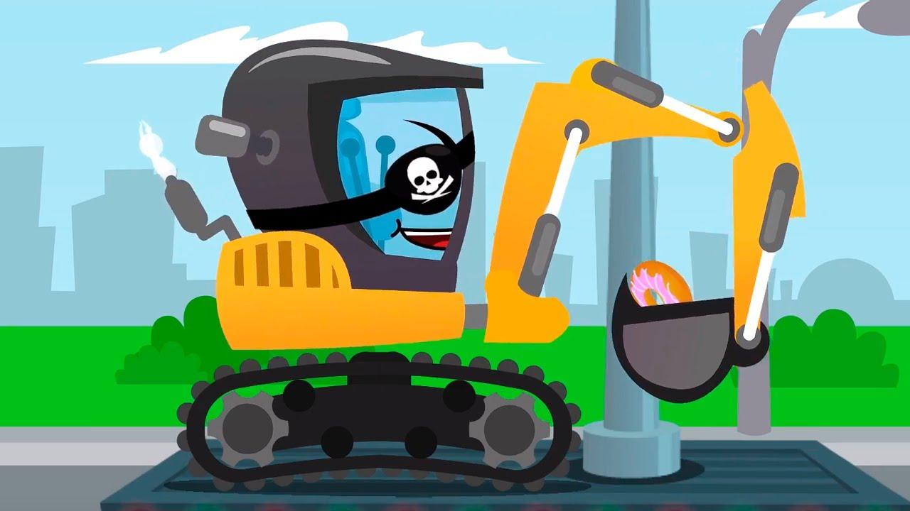 La Pelleteuse pirate et la voiture de police bricoleuse - Cars Stories Dessin animé pour les Enfants