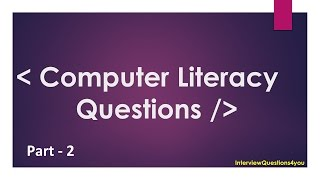 computer literacy test questions and answers Part 2