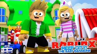ROBLOX MEEP CITY: BABY HUGO BUILDS A BABY MANSION w/ BABY LEAH!! ROBLOX ROLEPLAY