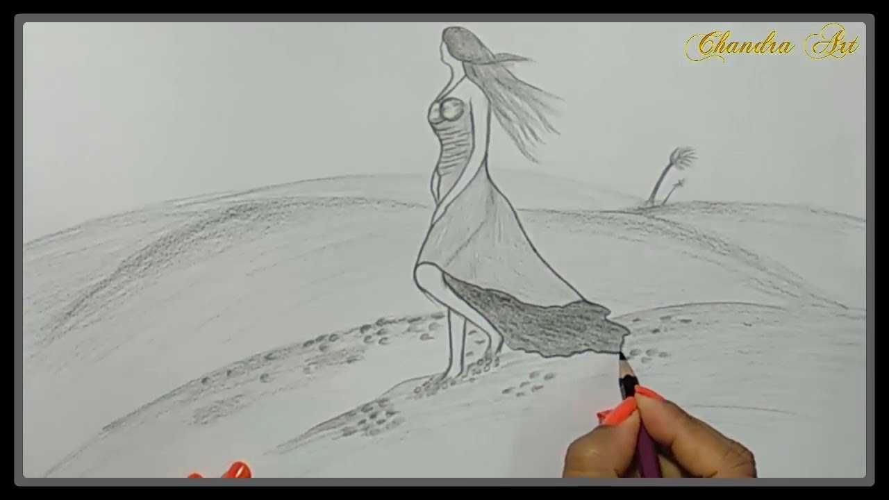 Pencil drawings of nature girl in nature pencil draw step by step chandra art
