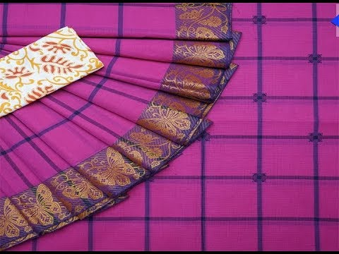 702a086775 Handloom Chettinad Checked Cotton Sarees || Pure Cotton Sarees Cutting Kalamkari  Blouse. MODERN COLLECTIONS