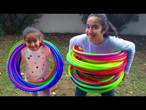 Esma and Asya Play With Hula Hoops fun kid video
