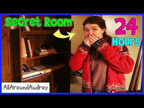 24 Hours In A Secret Hidden Room Behind A Bookshelf Door! / AllAroundAudrey