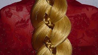 Коса из 4 прядей.ПОДРОБНО.Причёски для средних,длинных волос на каждый день:в школу, на работу