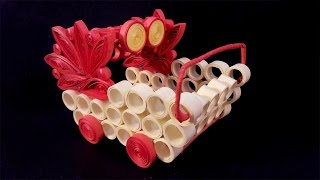 Paper Quilling Craft Tutorial # 10 - Learn Beautiful Cart Making @ ekunji.com
