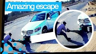 Couple Escape from Crazy Crash in India