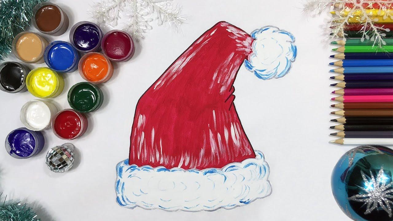 How to Draw Santa Hat | Santa Hat Coloring Page Painting | Fun ...