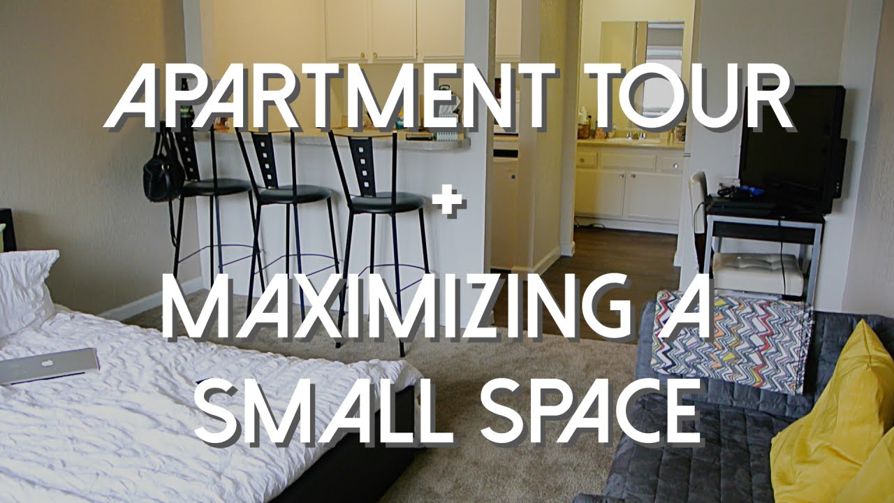 Studio apartment tour maximizing a small space youtube for Maximum seating for small living room