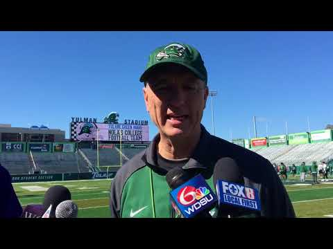 Tulane football coach Willie Fritz after the first day of spring practices