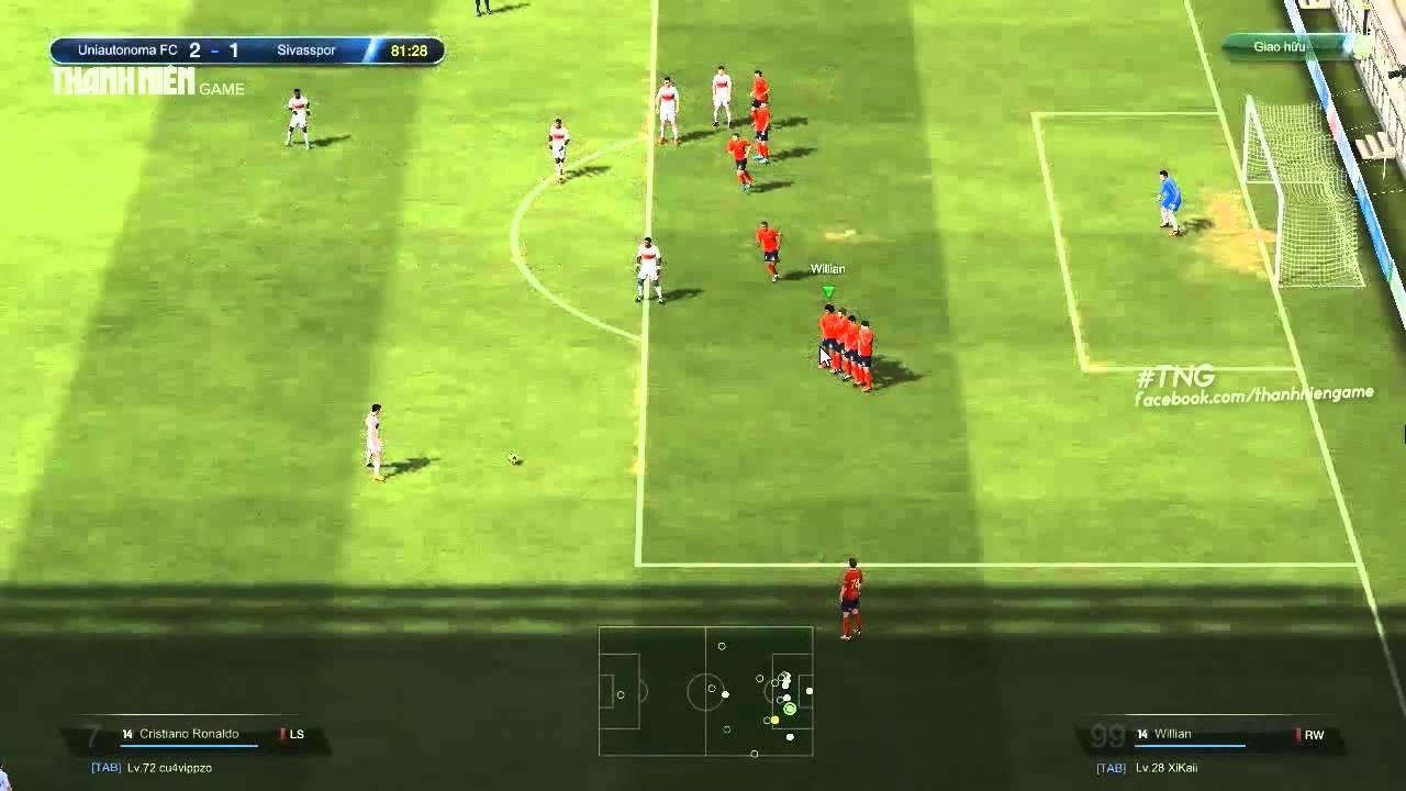 Mẹo FIFA Online 3: di chuyển hàng rào sút phạt
