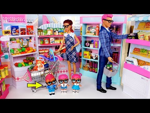 cd89fefee Barbie LOL Family Grocery Shopping – Forget Baby in The Supermarket ? –  Shopping time