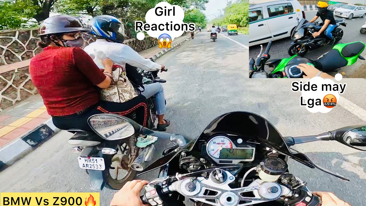 Girl Reaction😱 BMW Vs Z900 Only Subscribers Demand❤️