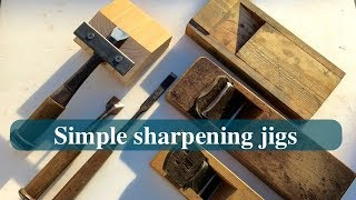 鉋とノミを研ぐための治具/sharpening jigs for a chisel & a kanna/gabarits pour affûter une lame