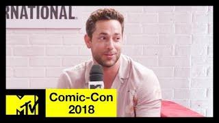 shazam cast on batman references black adam the dc universe more comic con 2018 mtv