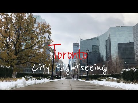 4K City Sightseeing Toronto 1 st Snow of 2018 November Canada