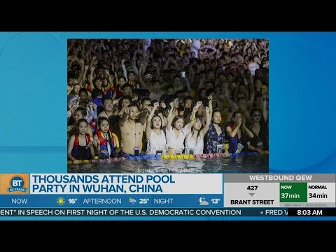 Thousands attend pool party in Wuhan, China