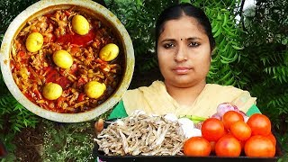 Amazing Village Foods Cooking Dry Fish Eggs Curry Recipe In My Village | Andra Style Sea Fish Recipe