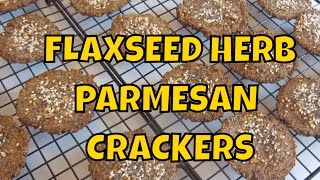 Round Flaxseed Meal Herbed Crackers With Parmesan Cheese