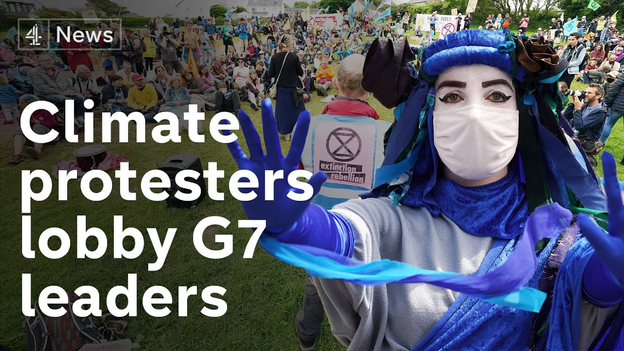 Download Protesters lobby G7 leaders on 'climate emergency'