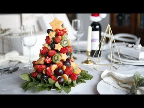 DIY CHRISTMAS FRUIT TREE | HOW TO MAKE EDIBLE FRUIT ARRANGEMENT