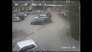 GIF meets musik - auto barrier hits car
