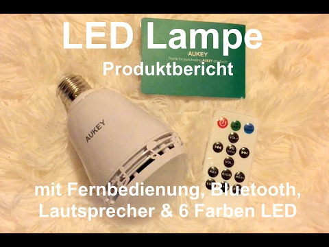 led lampe mit fernbedienung und bluetooth lautsprecher mit e27 fassung youtube. Black Bedroom Furniture Sets. Home Design Ideas