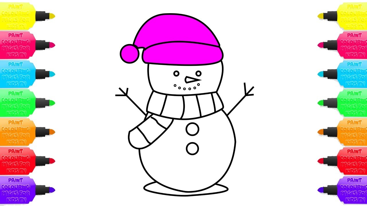how to draw snowman coloring pages for kids art colours for