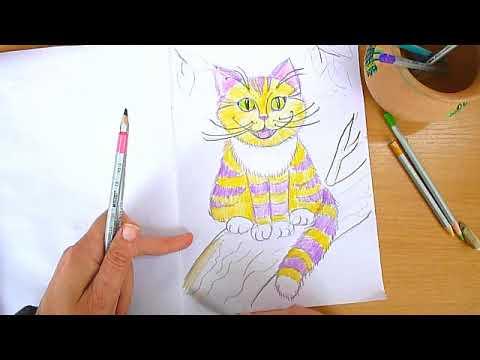 2 клас. Мистецтво. Малюємо Чеширського кота кольоровими олівцями