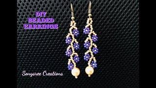Daisy Vine Earrings. DIY Beaded Earrings. How to make beaded earrings